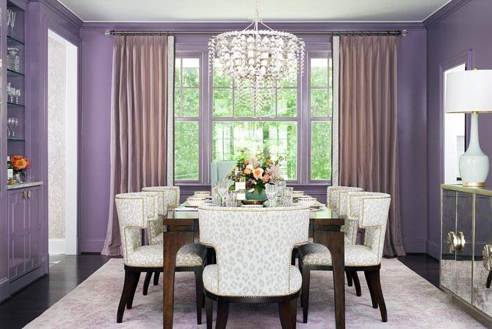 светло фиолетовые стены столовой комнаты фото