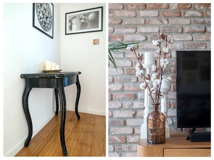 Ретро консоль черного цвета и другие винтажные вещи в декоре квартиры фото