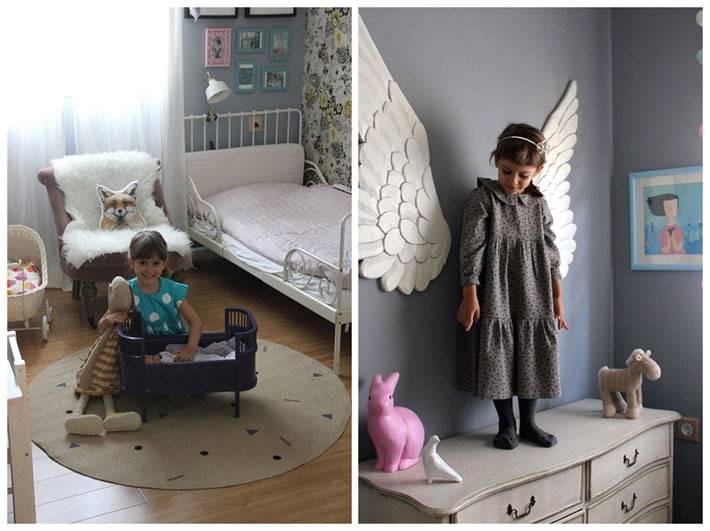 крылья и игрушки для девочки в интерьере детской фото