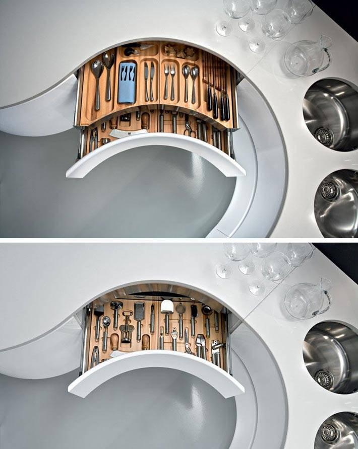 кухонные ящики изогнутой формы для хранения вилок и ложек