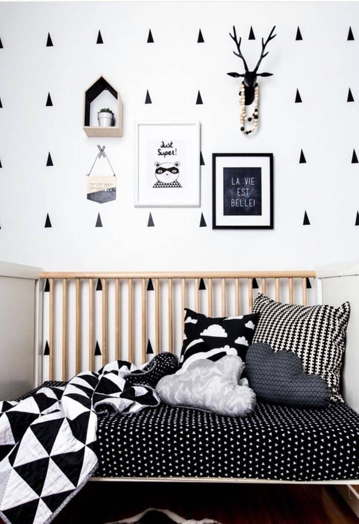 черно-белый дизайн детской комнаты фото