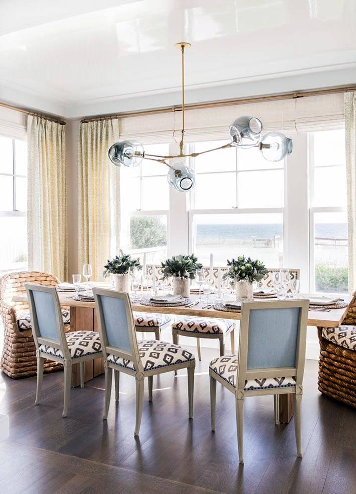 панорамные окна в интерьере столовой комнаты фото