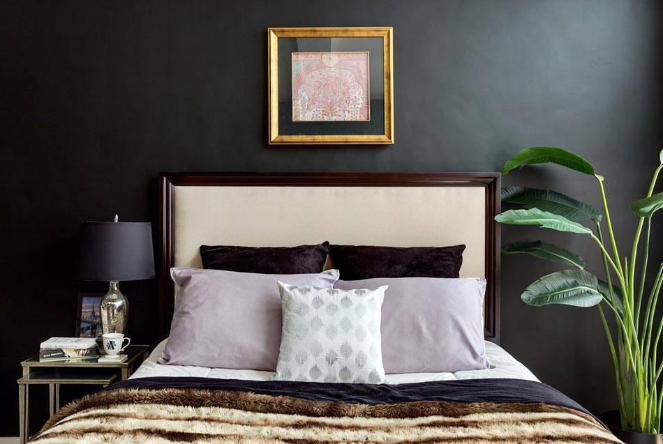 черный цвет стен в дизайне спальни фото