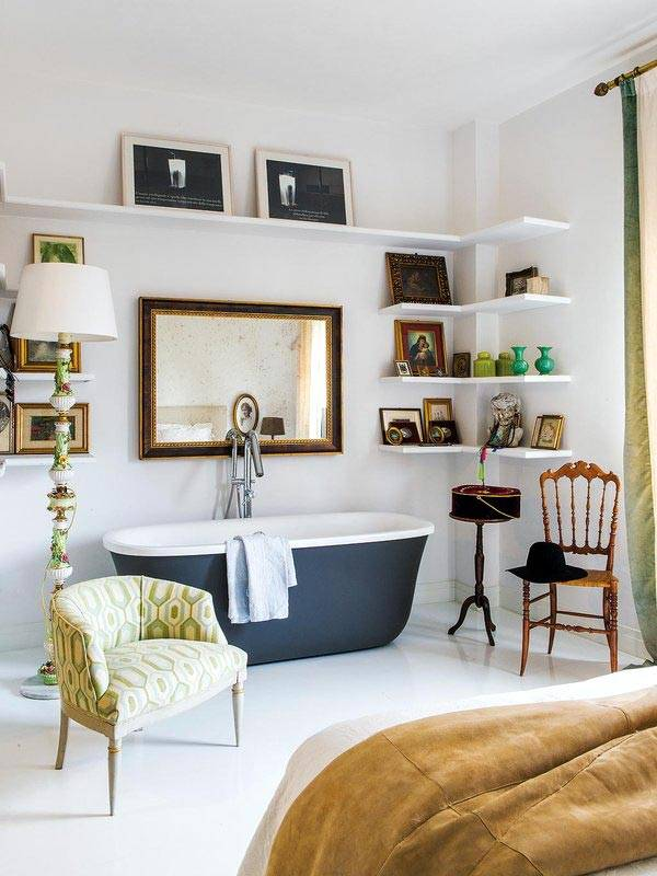 спальня совмещена с ванной комнатой фото