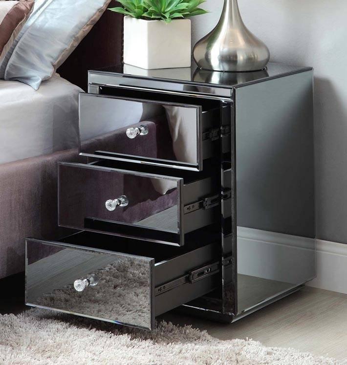 зеркальная тумба с ящиками черного цвета фото