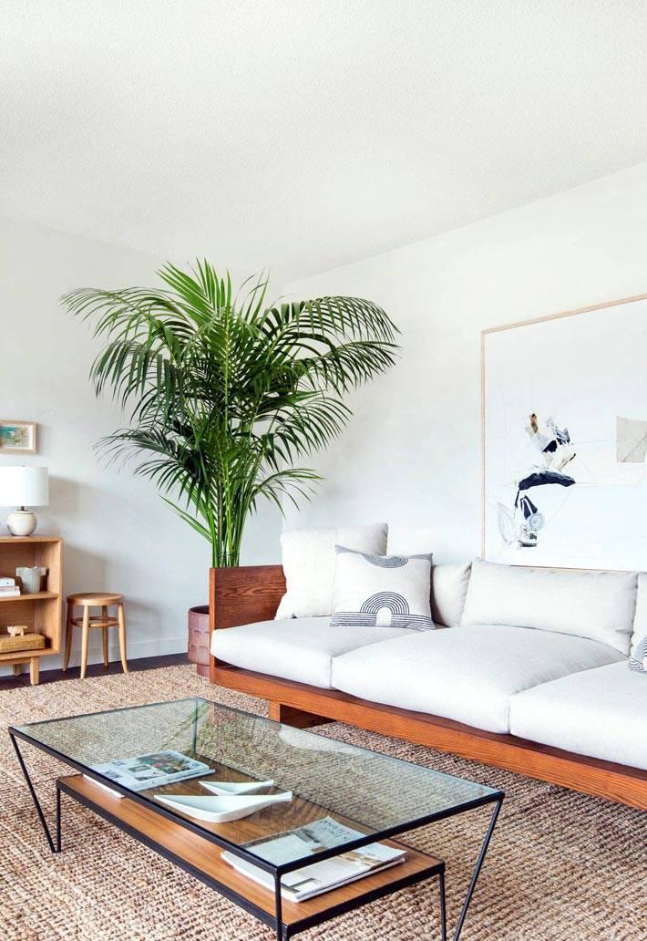 интерьер гостиной с деревянной мебелью и большой пальмой