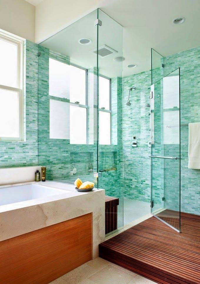 плитка бирюзового цвета для облицовки ванной комнаты