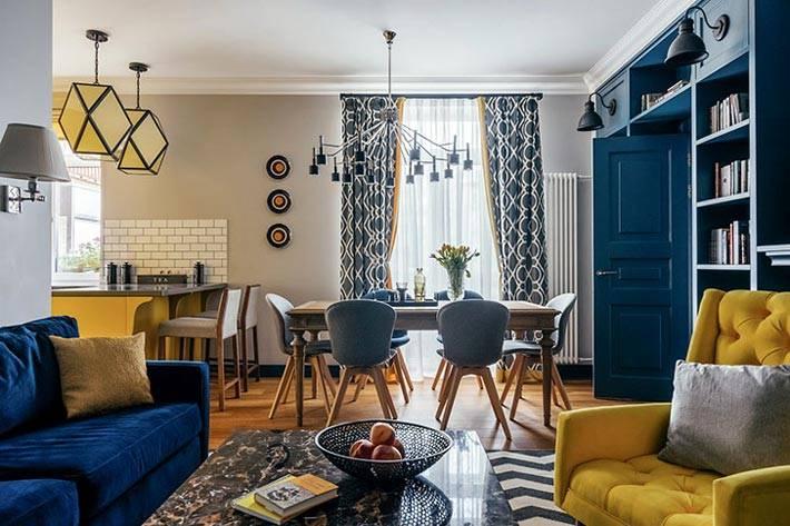 кухня и гостиная объединенные в одно пространство в квартире