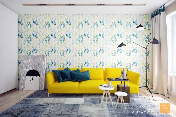 Дизайн в стиле минимализм с ярким желтым диваном