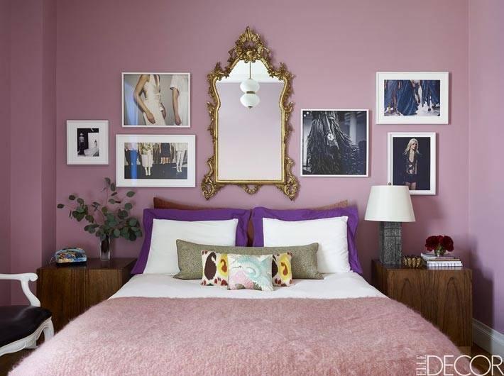 лиловый цвет в дизайне интерьера спальни фото