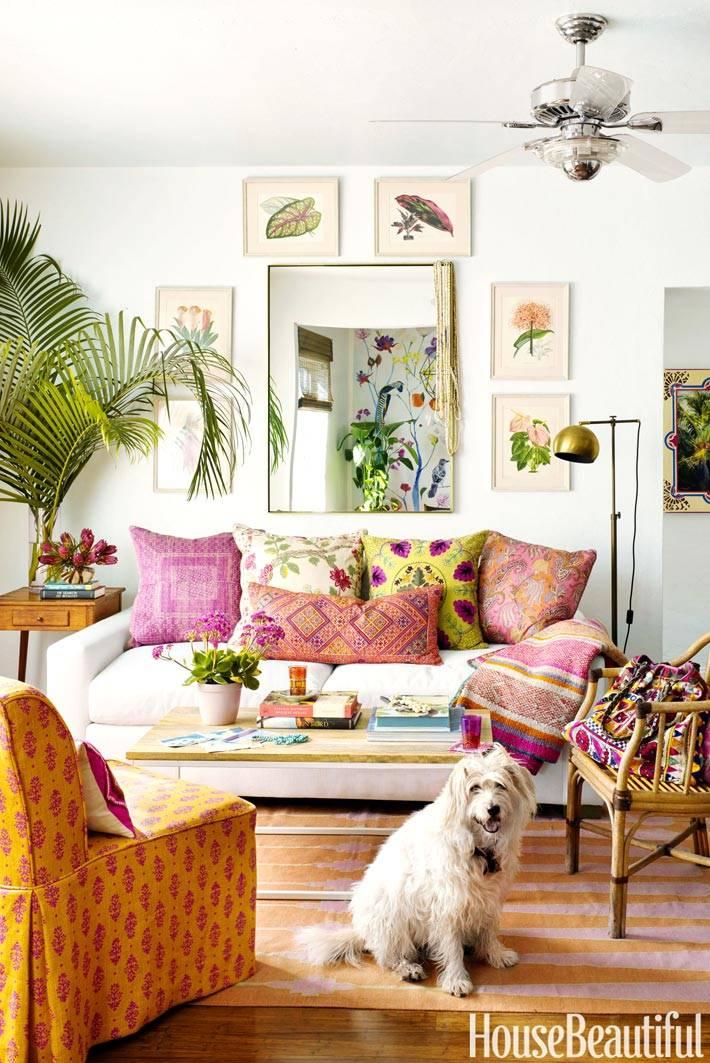 яркая квартира дизайнера текстиля в бохо стиле
