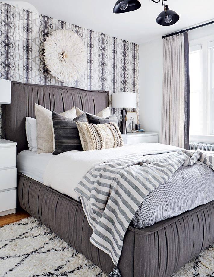серый цвет в оформлении интерьера спальни фото