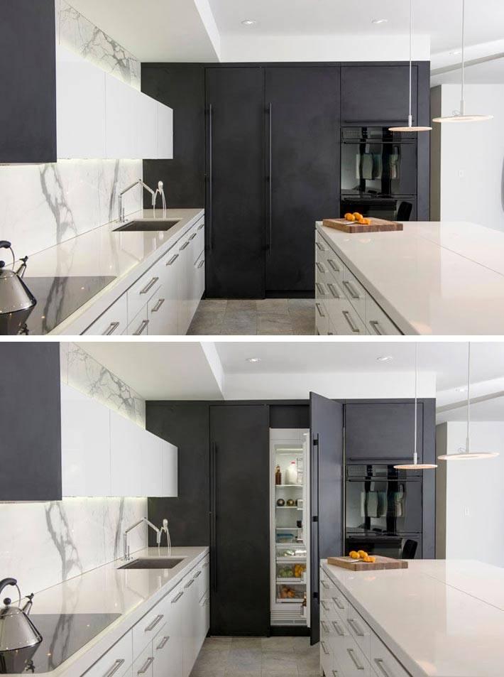 Кухня со встроенным холодильником выглядит очень аккуратно