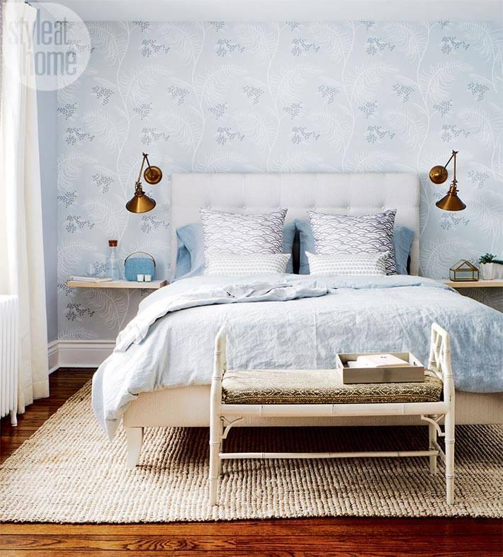 голубые стены в дизайне интерьера спальни фото