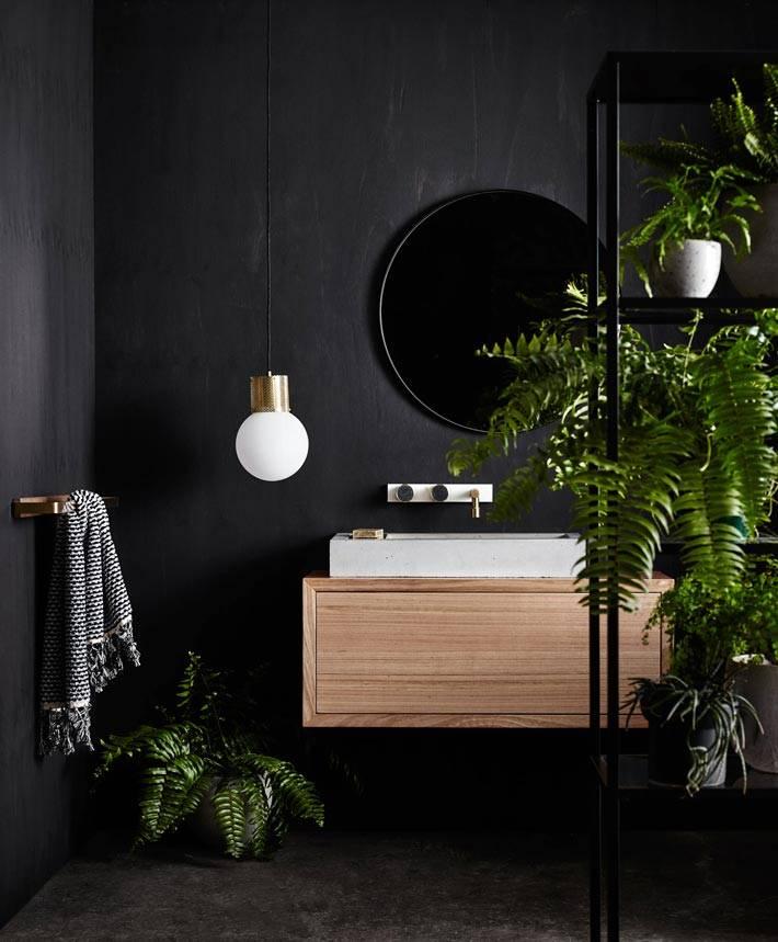 зеленые растения в интерьере черной ванной