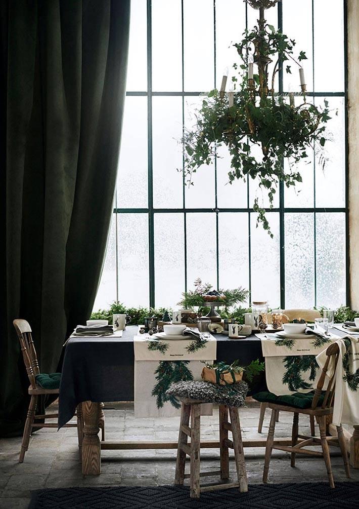 сервировка новогоднего стола в зеленом цвете фото