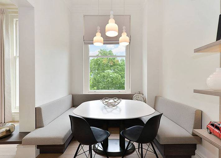минимализм в оформлении столовой зоны на кухне фото