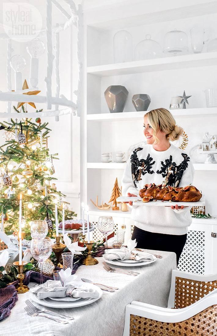 красивое оформление праздничного новогоднего стола