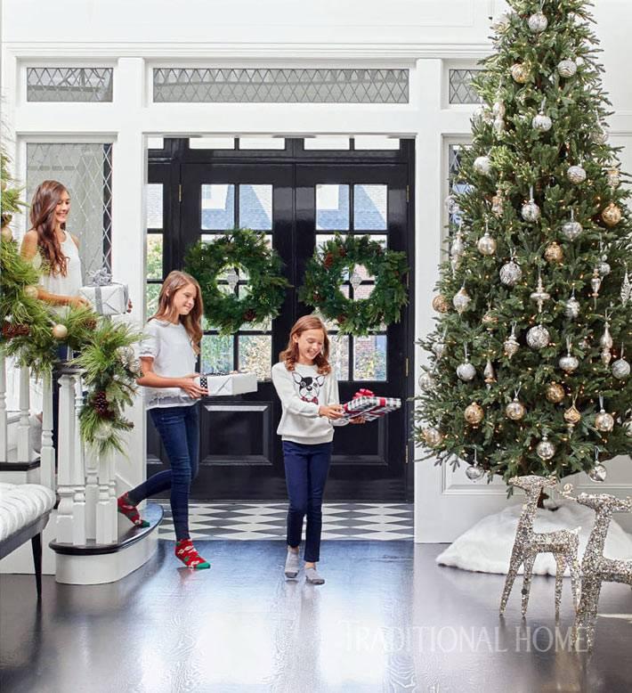 украшение красивого дома к новогодним праздникам фото