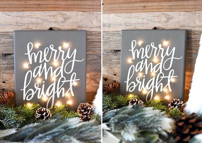 рождественская картина с гирляндой фото
