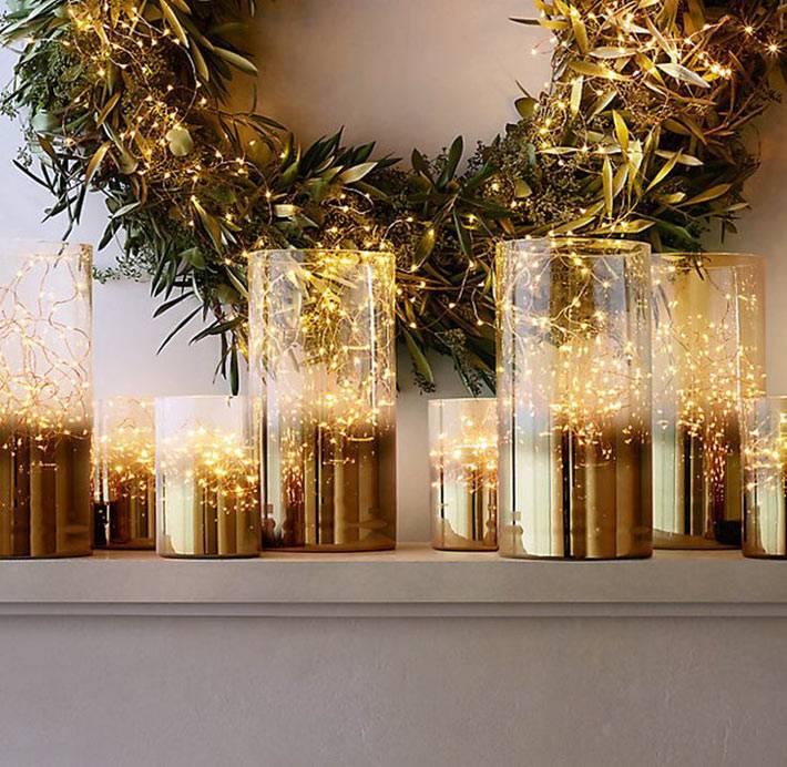 новогодний декор - гирлянды в стеклянных банках