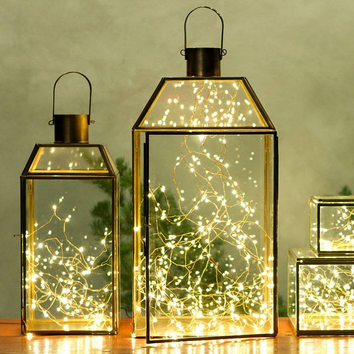 новогодние фонари с гирляндами внутри фото