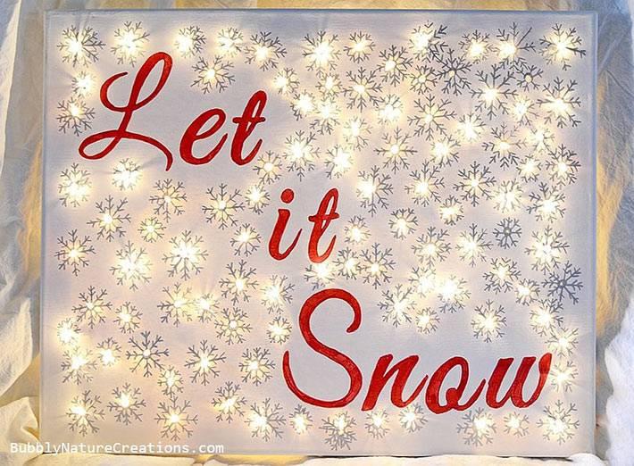 самодельная зимняя картина с лампочками гирлянд