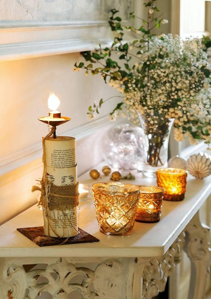 свечи в стекле и на подсвечниках в дизайне дома фото