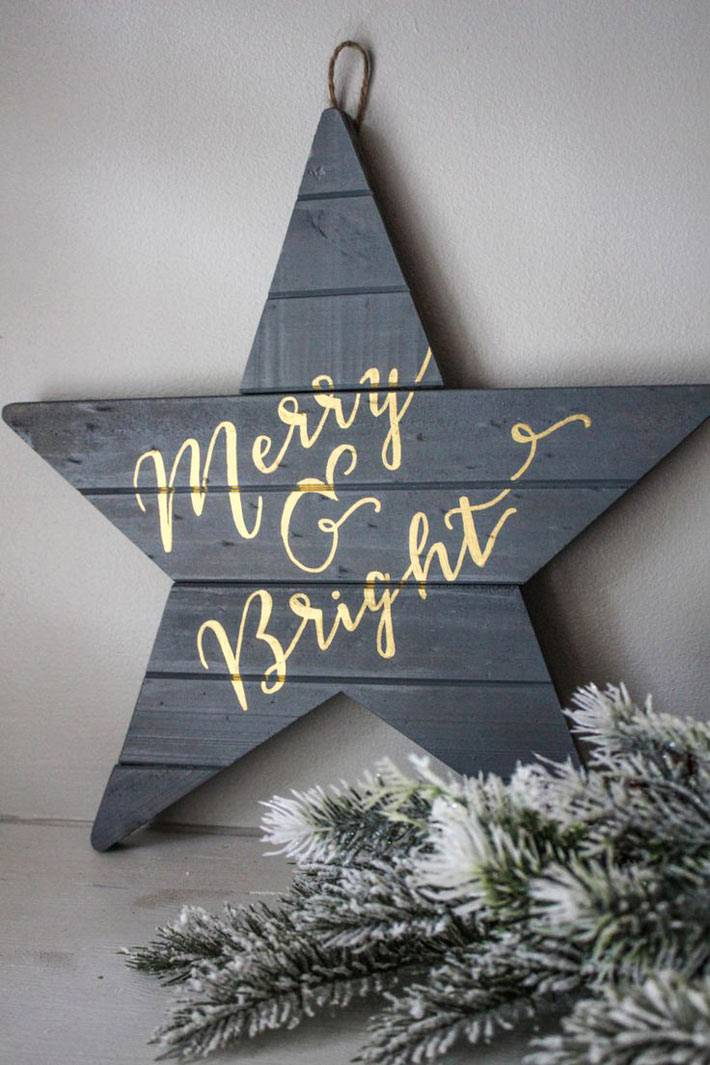 новогодний декор - деревянная звезда с надписью фото