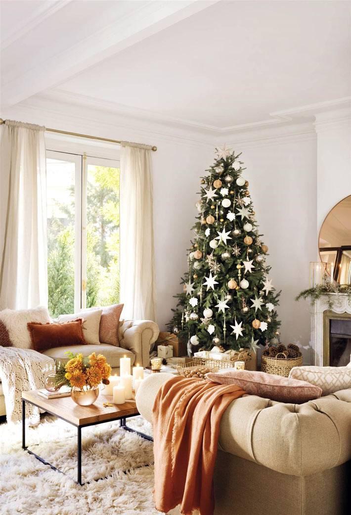 красивый новогодний интерьер испанского дома фото