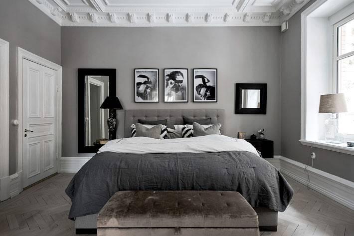 спокойные серые оттенки в скандинавской спальне