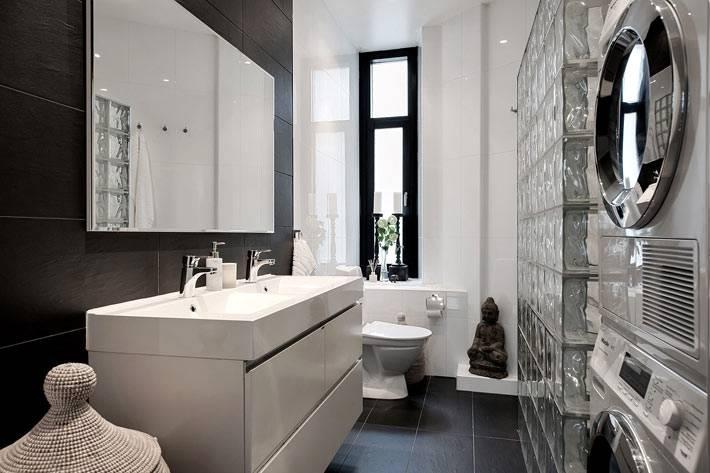 стена из стеклоблоков в ванной комнате фото