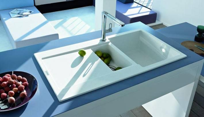 белая керамическая мойка Franke в интерьере кухни фото