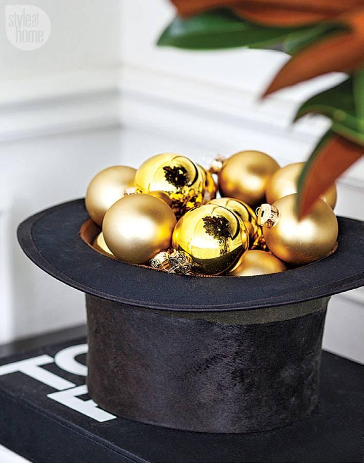 черная шляпа с новогодними шарами в декоре интерьера