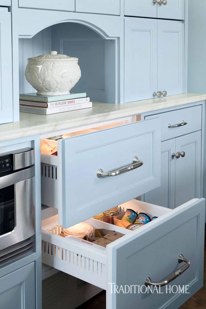 подсветка внутри кухонных ящиков фото