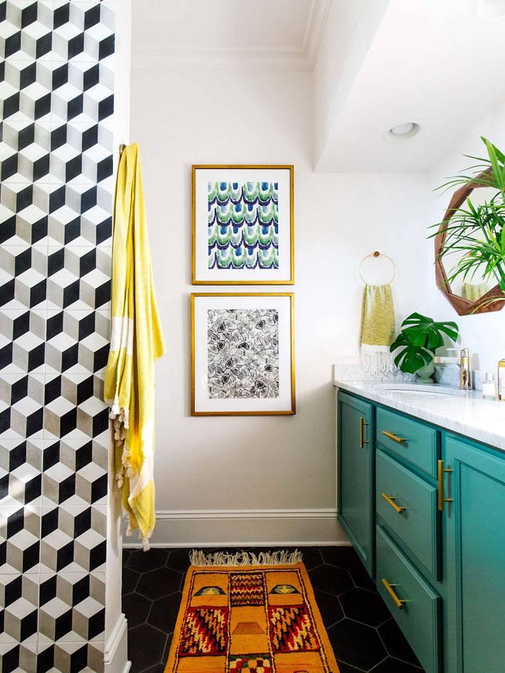 плитка с геометрическим узором на стены ванной комнаты