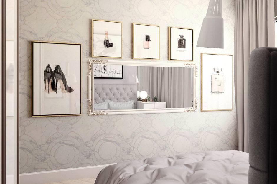 горизонтальное зеркало перед кроватью в спальне фото