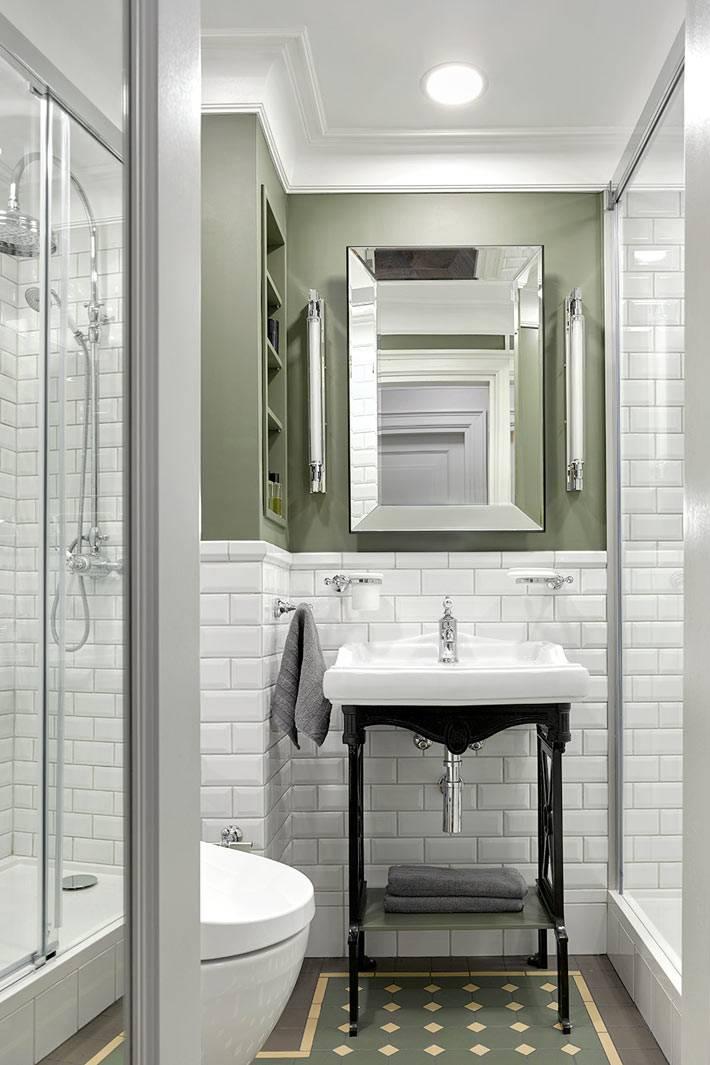 черная подставка под умывальник в белом интерьере ванной