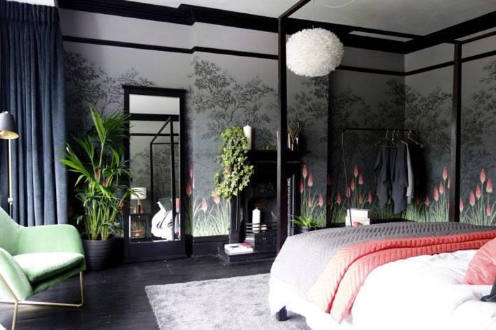 дизайн маленькой спальни в темных тонах