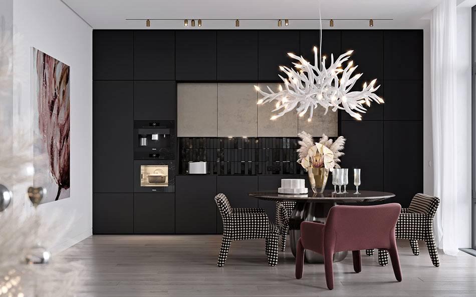 белые стены и черные фасады мебели на кухне фото