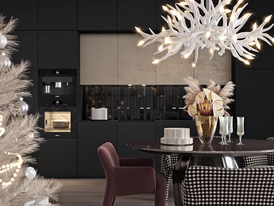 Встроенная черная техника и черный кухонный фартук