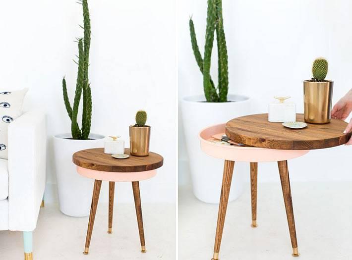 тайник в круглой столешнице кофейного стола