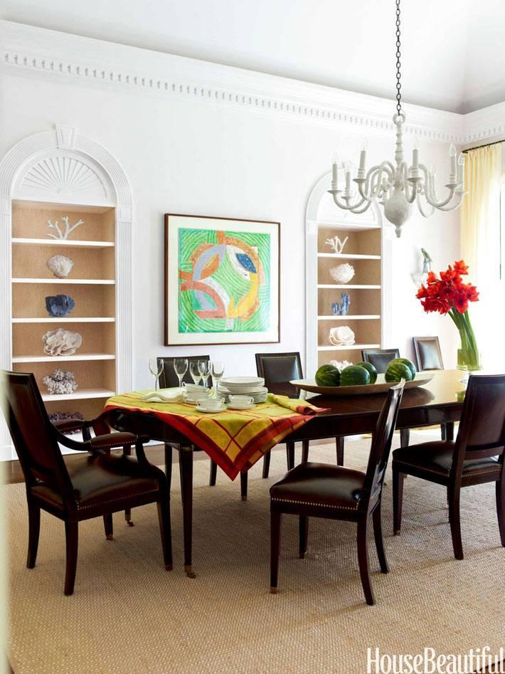 арочные ниши для декора в интерьере столовой комнаты фото