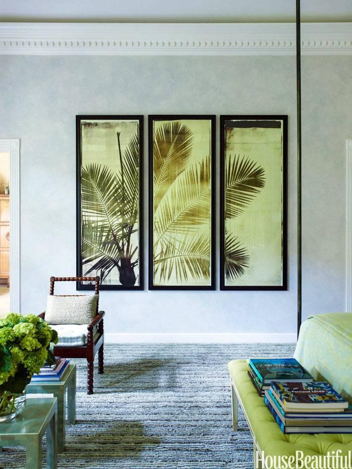 картина-триптих с пальмой в дтзайне спальни фото