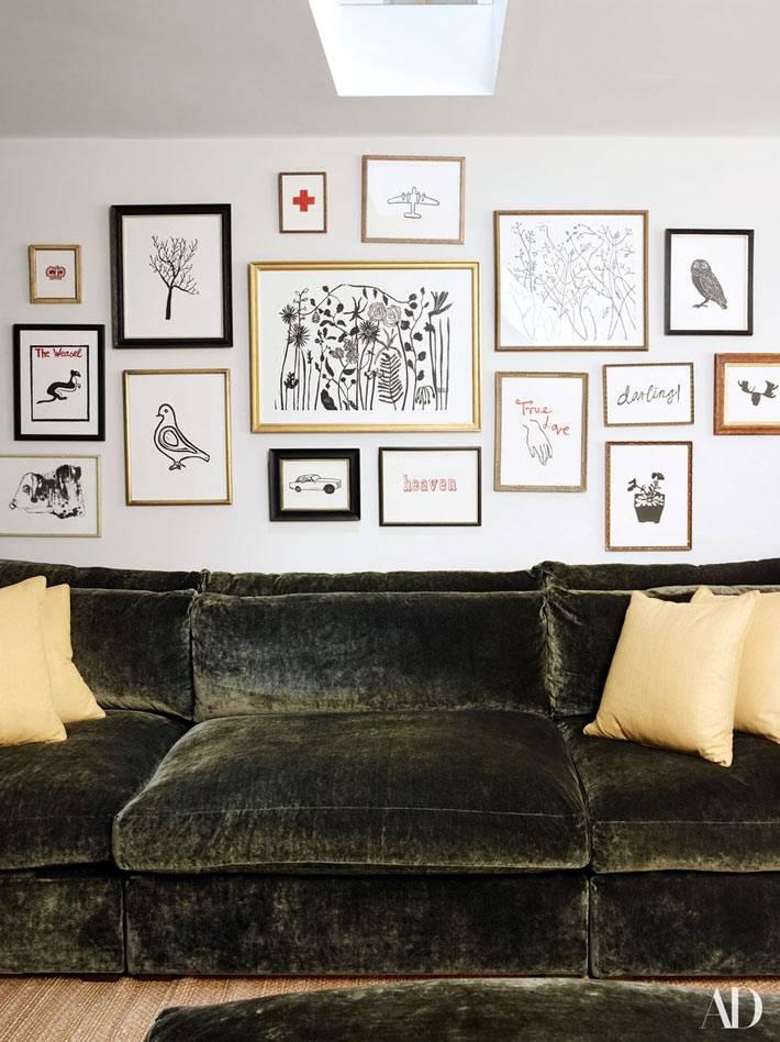 как разместить картины над диваном в гостиной