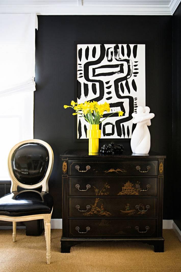 преобладание черного цвета в мебели и декоре интерьера