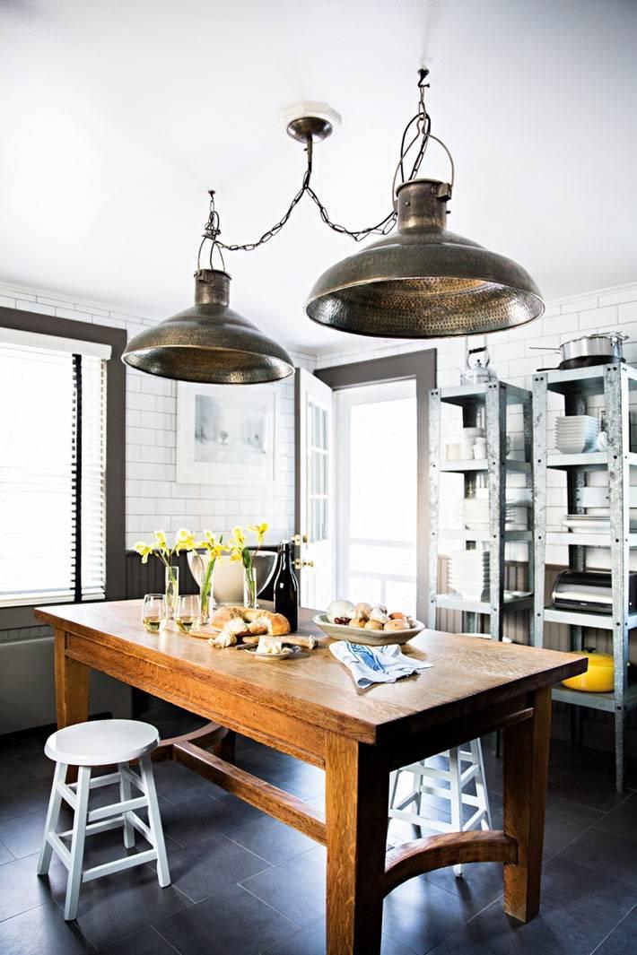 кухня в индустриальном стиле с железными лампами