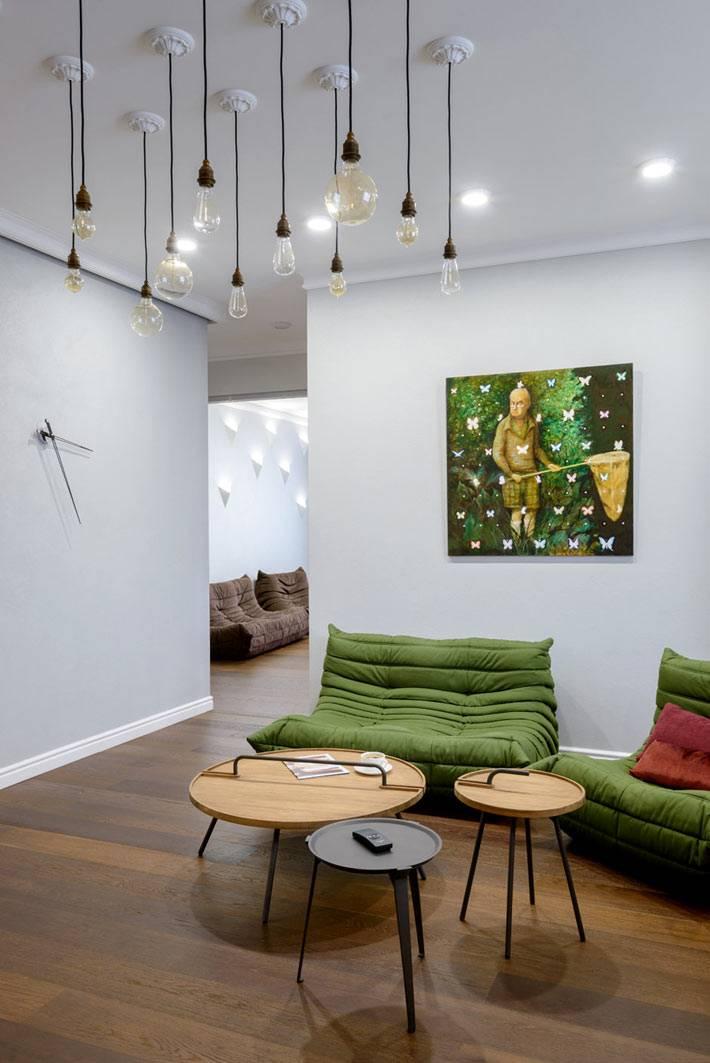 оригинальное решение потолочного освещения в квартире