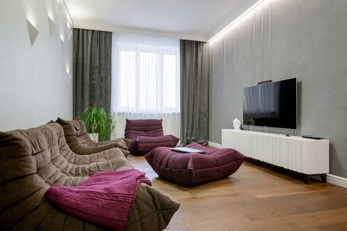 современная гостиная в стиле минимализм с креслами-пуфами