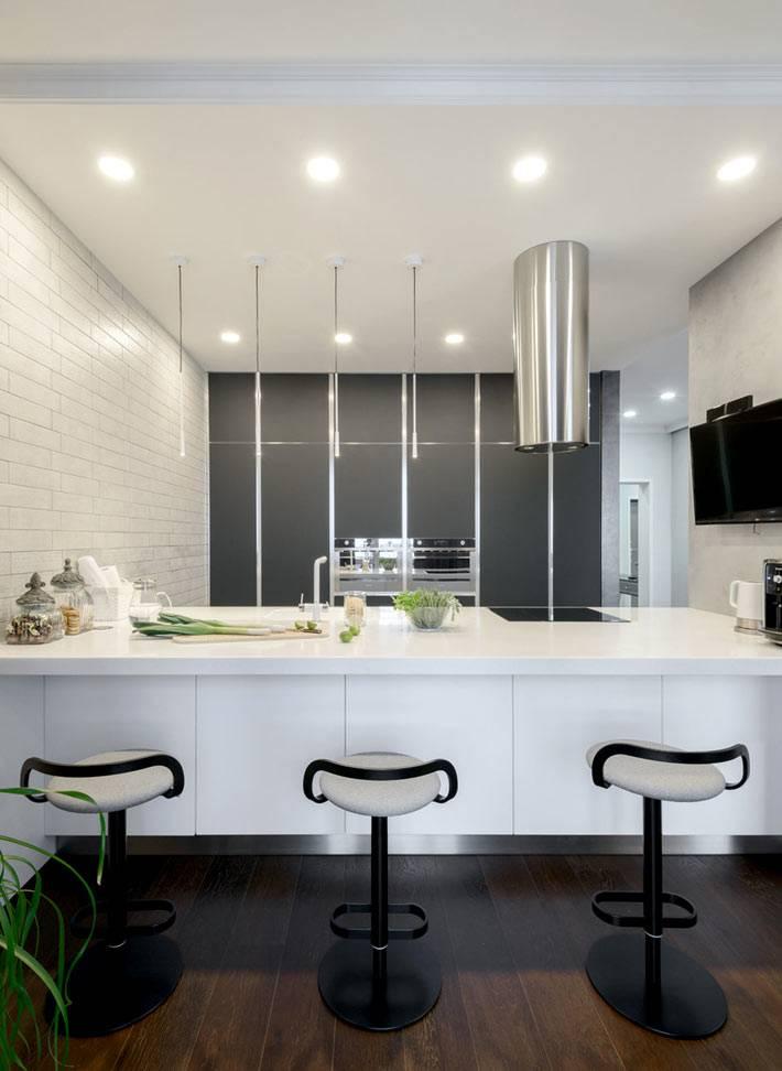 гармоничное сочетание серого и белого в интерьере кухни